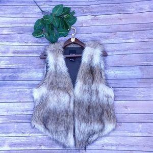 Me jane ombre cream brown & tan faux fur vest